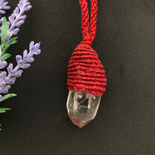 Load image into Gallery viewer, Clear Quartz Macrame Pendant - Moonstone Felt And Crystals