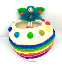 Load image into Gallery viewer, Felt Fairy Bowl - Rainbow Wishing Bowl - Moonstone Felt And Crystals