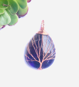 Tree of Life Amethyst/Ametrine Pendant - Moonstone Felt And Crystals