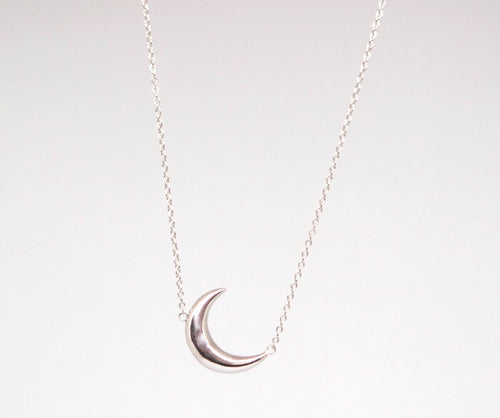 Sterling Silver Crescent Moon Necklace - Moonstone Felt And Crystals