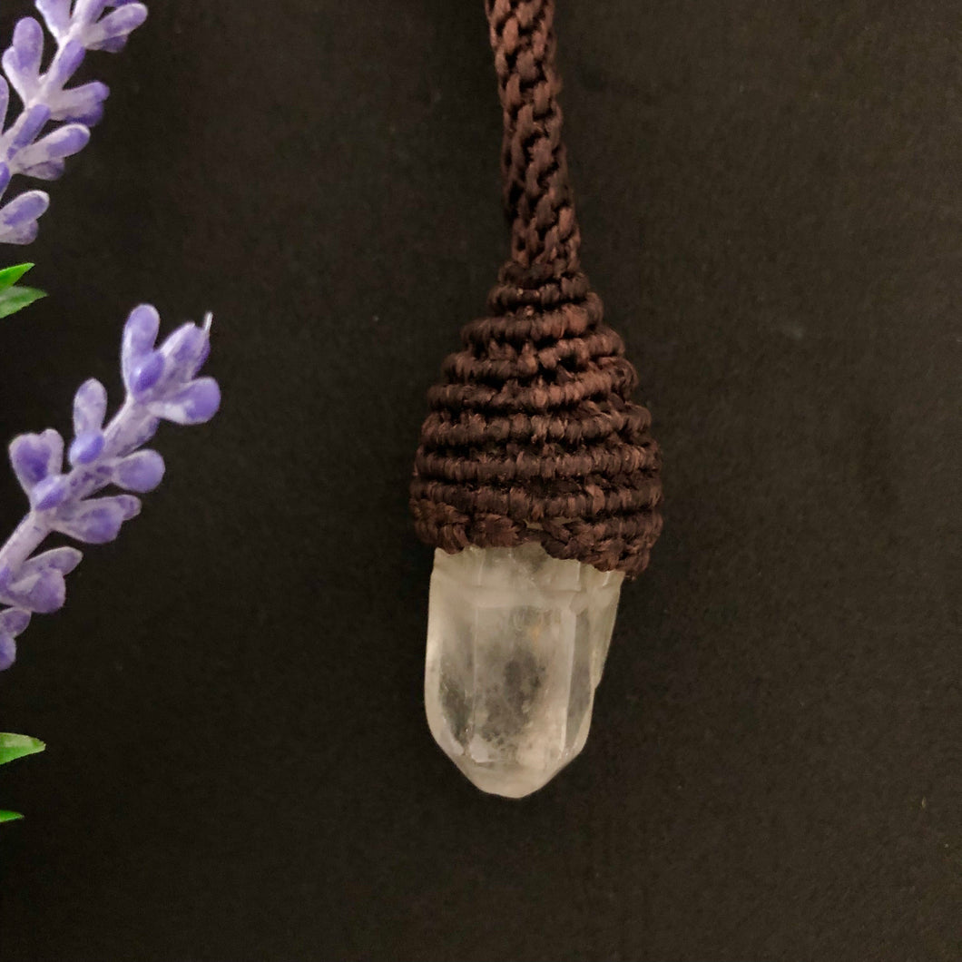 Clear Quartz Macrame Pendant - Moonstone Felt And Crystals