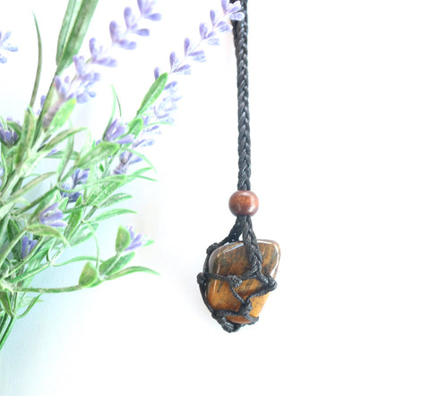 Tiger Eye Macrame Necklace - Moonstone Felt And Crystals