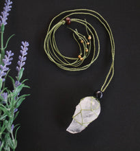 Load image into Gallery viewer, Clear Quartz Macrame Necklace Large - Moonstone Felt And Crystals