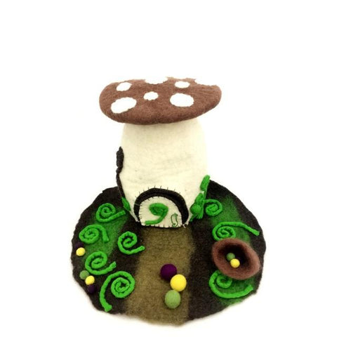 Felt Fairy House - Woodland fairy house - Moonstone Felt And Crystals