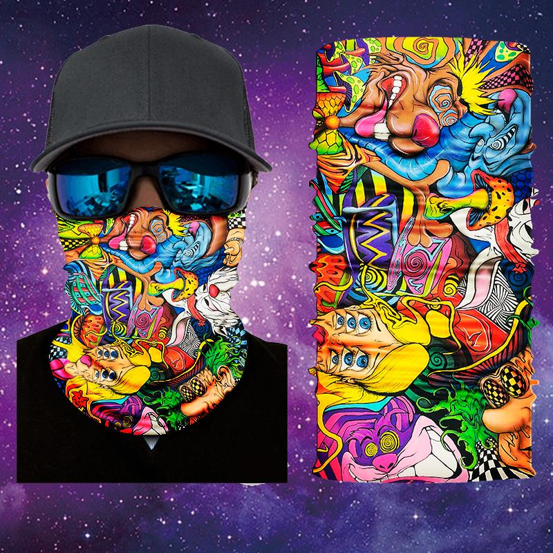 Gaiter Face Shield Face Shield Trippy Alice in Wonderland 1 Face Shield/Mask By Visual Fiber Available And Ready To Ship