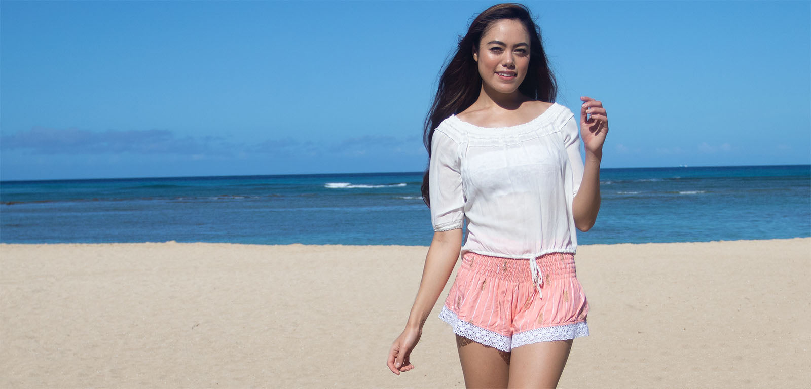 Maile in Coral Pineapple Print Shorts
