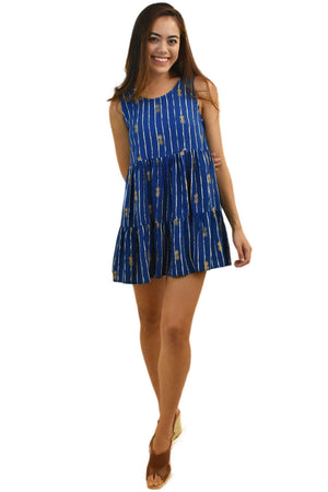 Ala Short Dress in Pineapple Navy