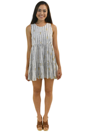 Ala Short Dress in Pineapple White/Navy