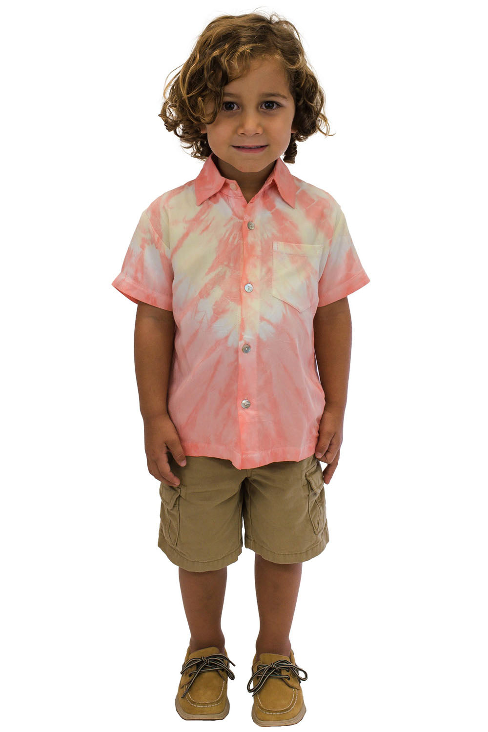 Boys Shirt in Abstract Coral