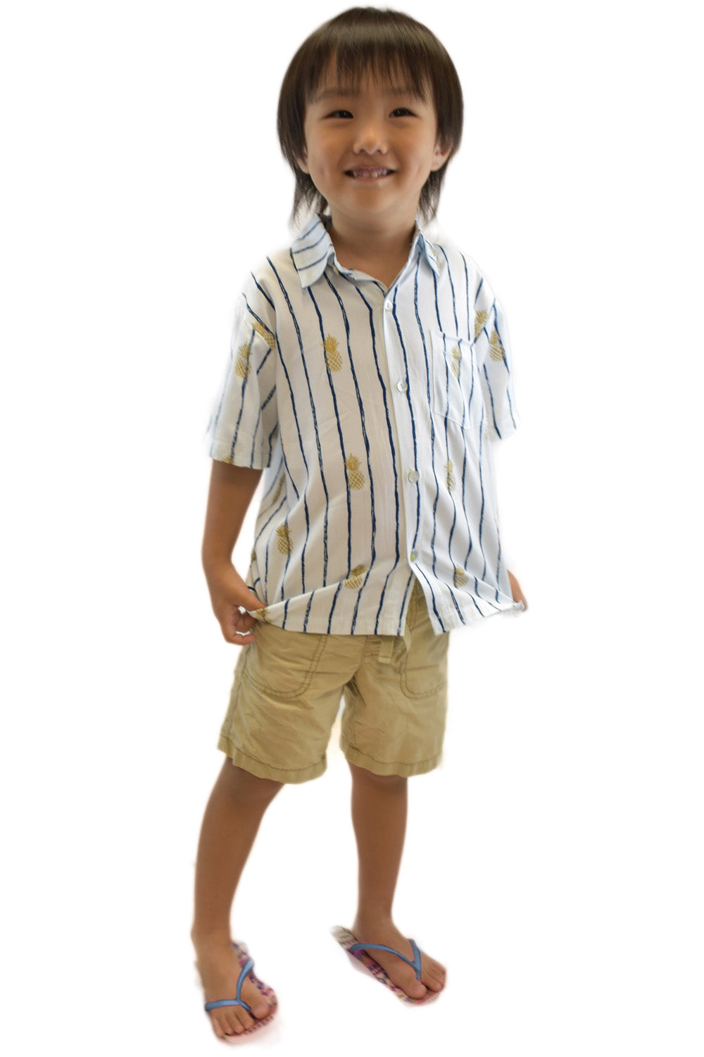 Boys Shirt in Pineapple Print White/Navy
