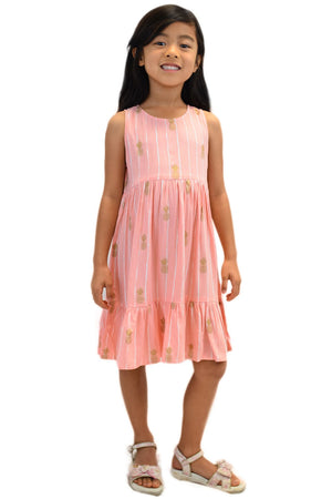 Girls Ala Dress in Pineapple Print Coral