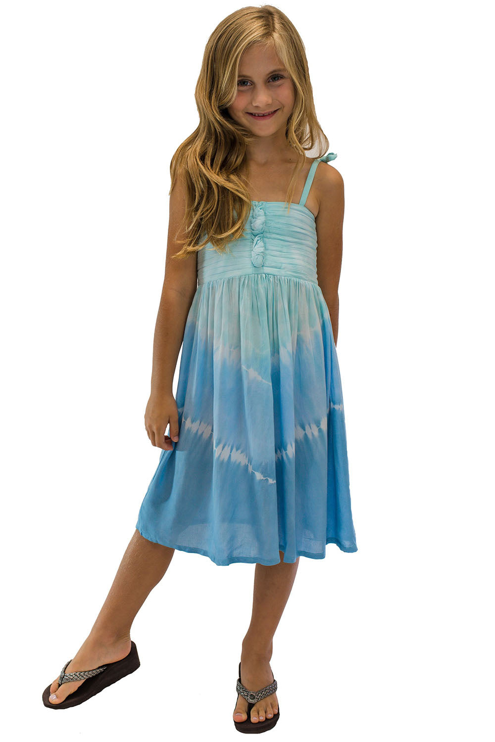 Girls Lani Dress in Abstract Blue