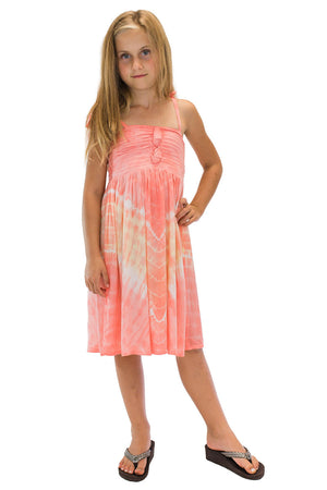 Girls Lani Dress in Abstract Coral
