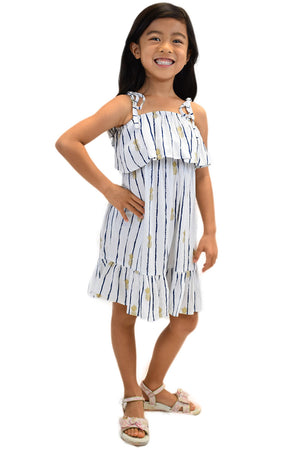 Girls Moana Dress in Pineapple Print White/Navy