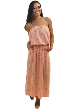 Kaipo Long Dress in Pineapple Print Coral