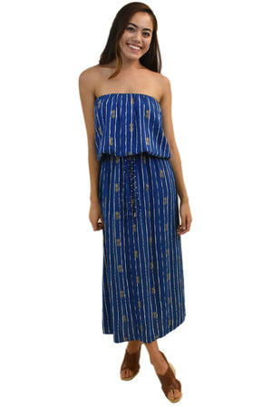 Kaipo Long Dress in Pineapple Print Navy