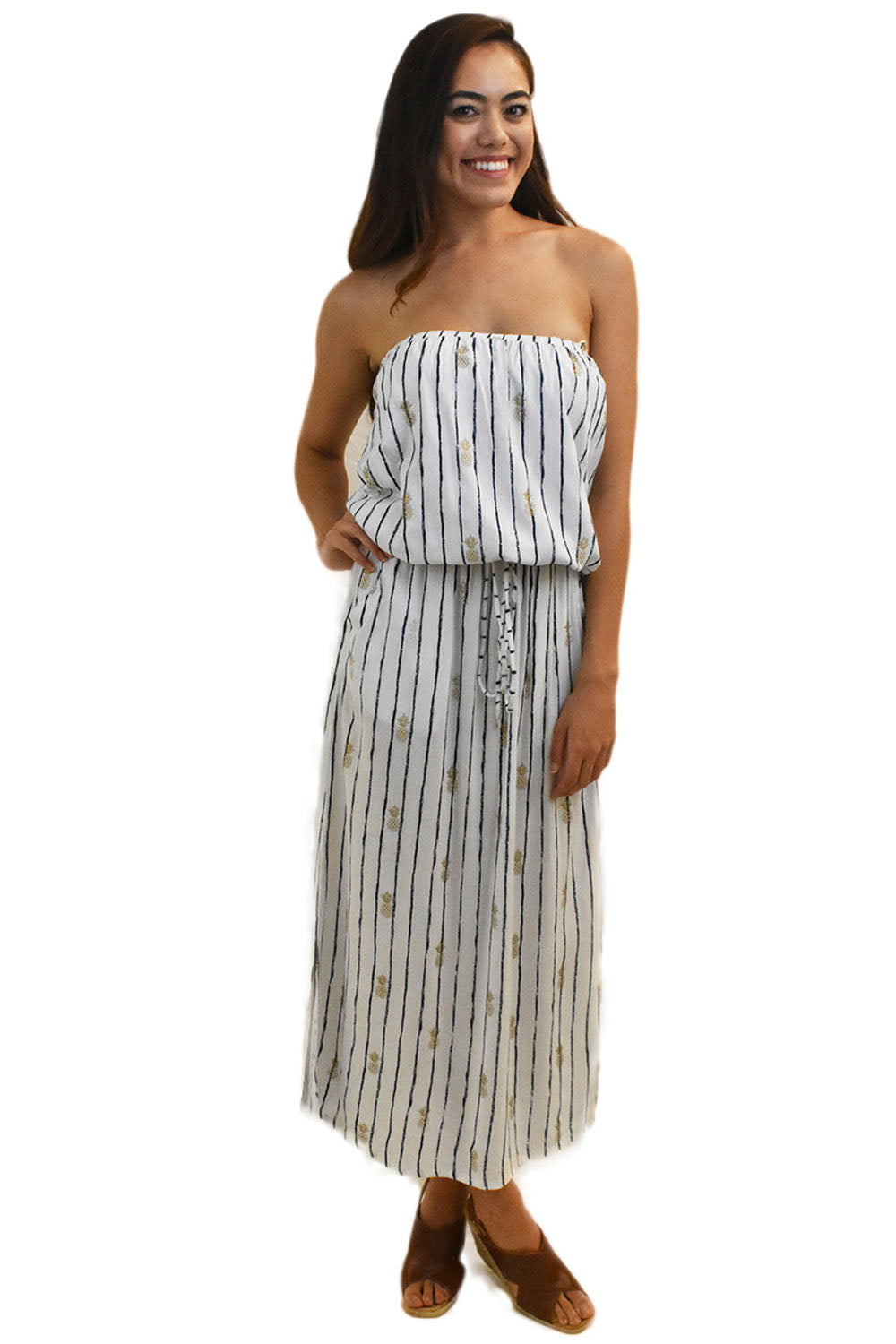 Kaipo Long Dress in Pineapple Print White/Navy