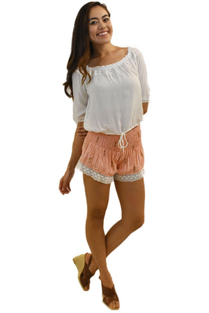 Lace Shorts in Pineapple Print Coral