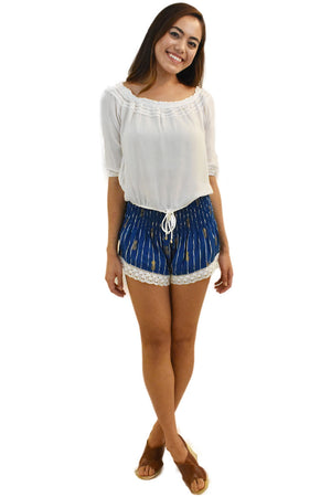 Lace Shorts in Pineapple Print Navy