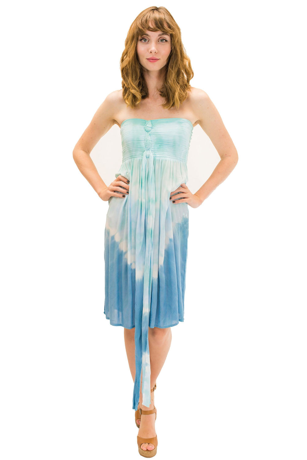 Lani Short Dress in Abstract Blue