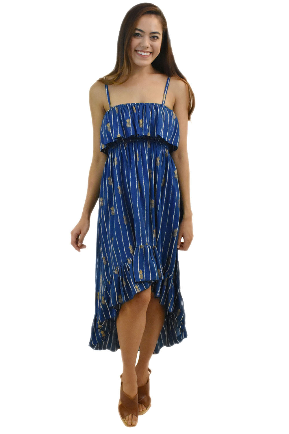 Lanikai Dress in Pineapple Print Navy