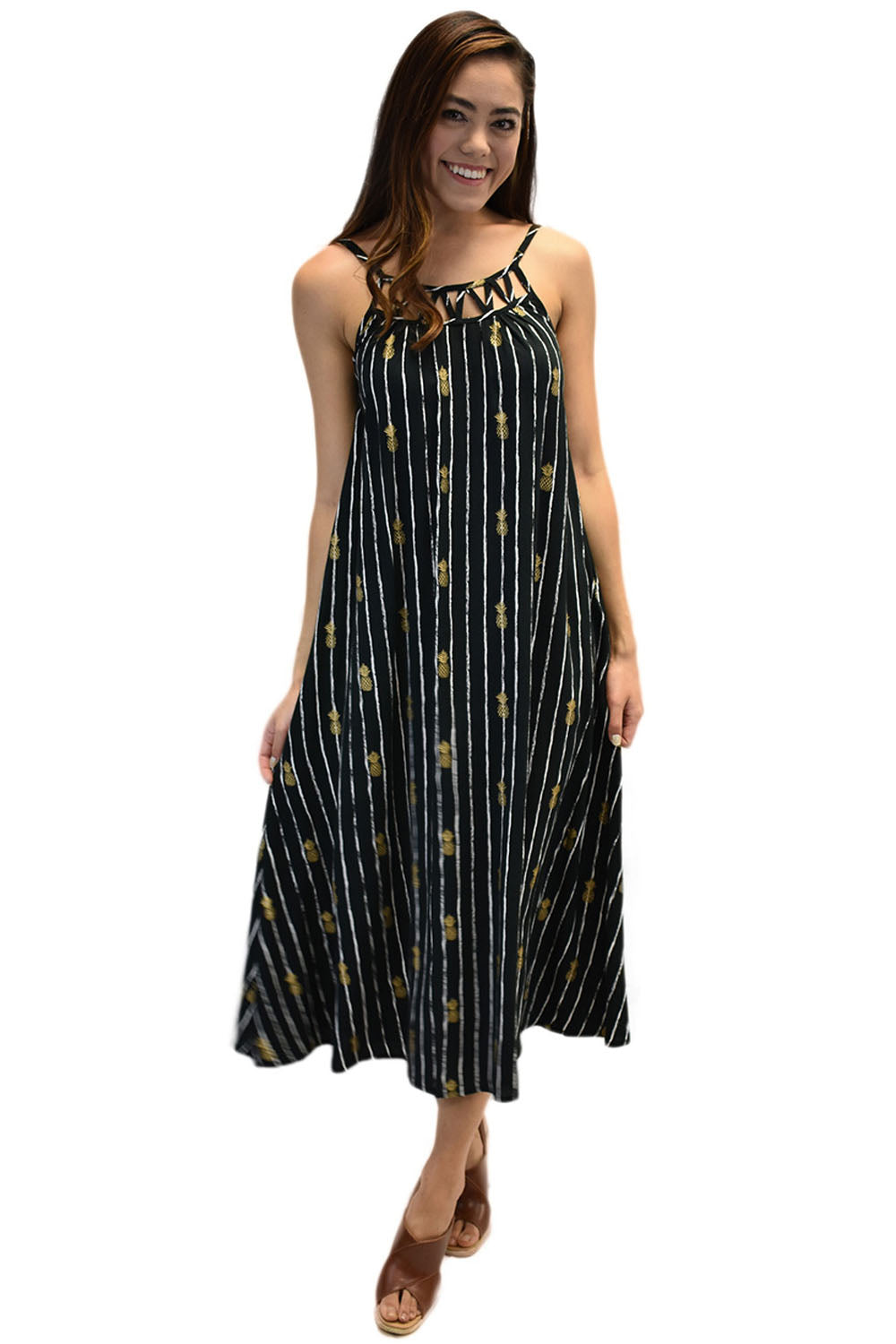 Leilani Dress in Pineapple Print Black