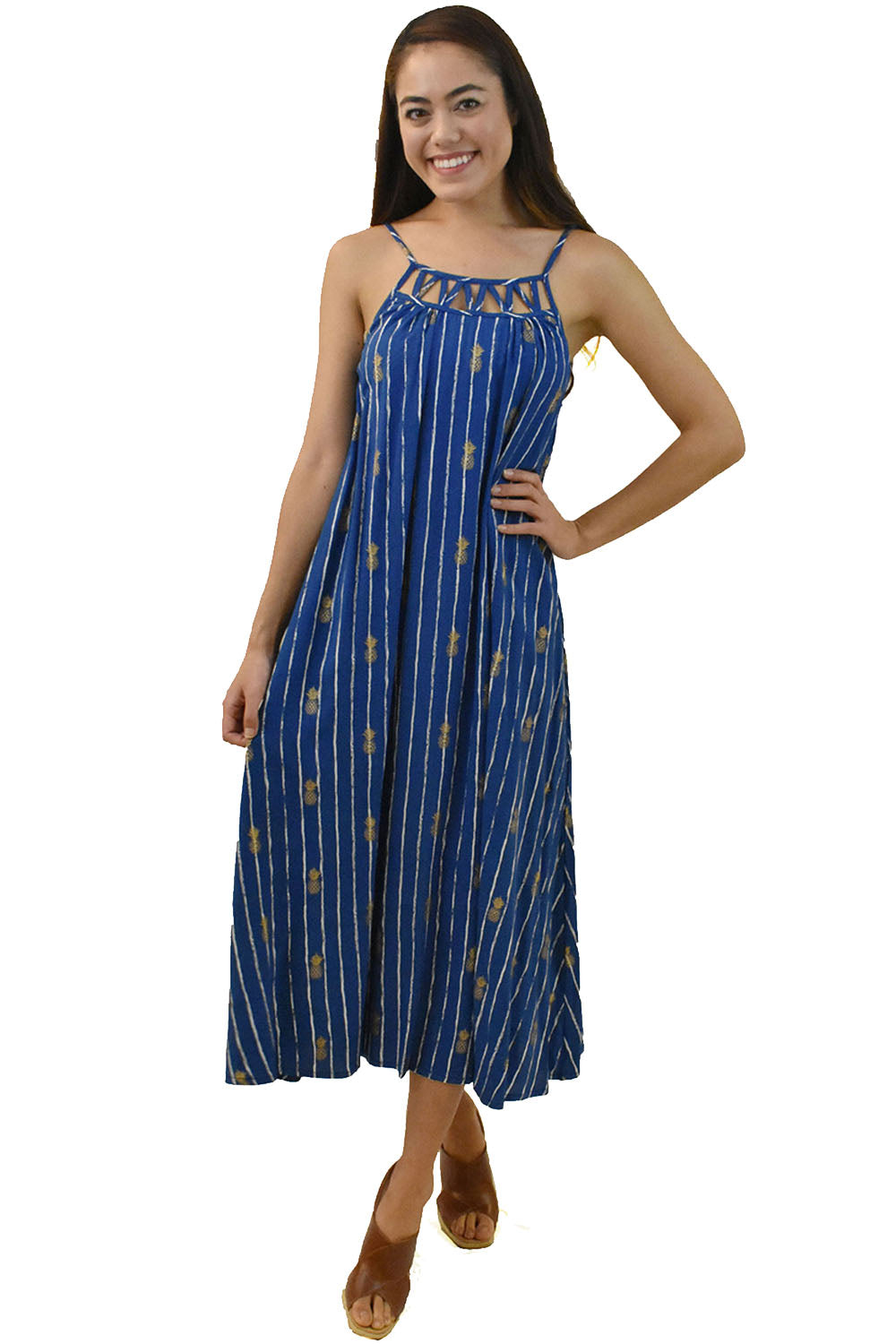 Leilani Dress in Pineapple Print Navy