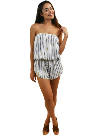 Luana Tube Romper in Pineapple Print White/Navy
