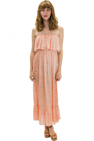 Moana Long Dress in Angel Wing Coral