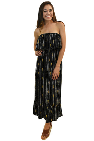 Moana Long Dress in Pineapple Print Black