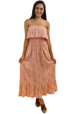 Moana Long Dress in Pineapple Print Coral