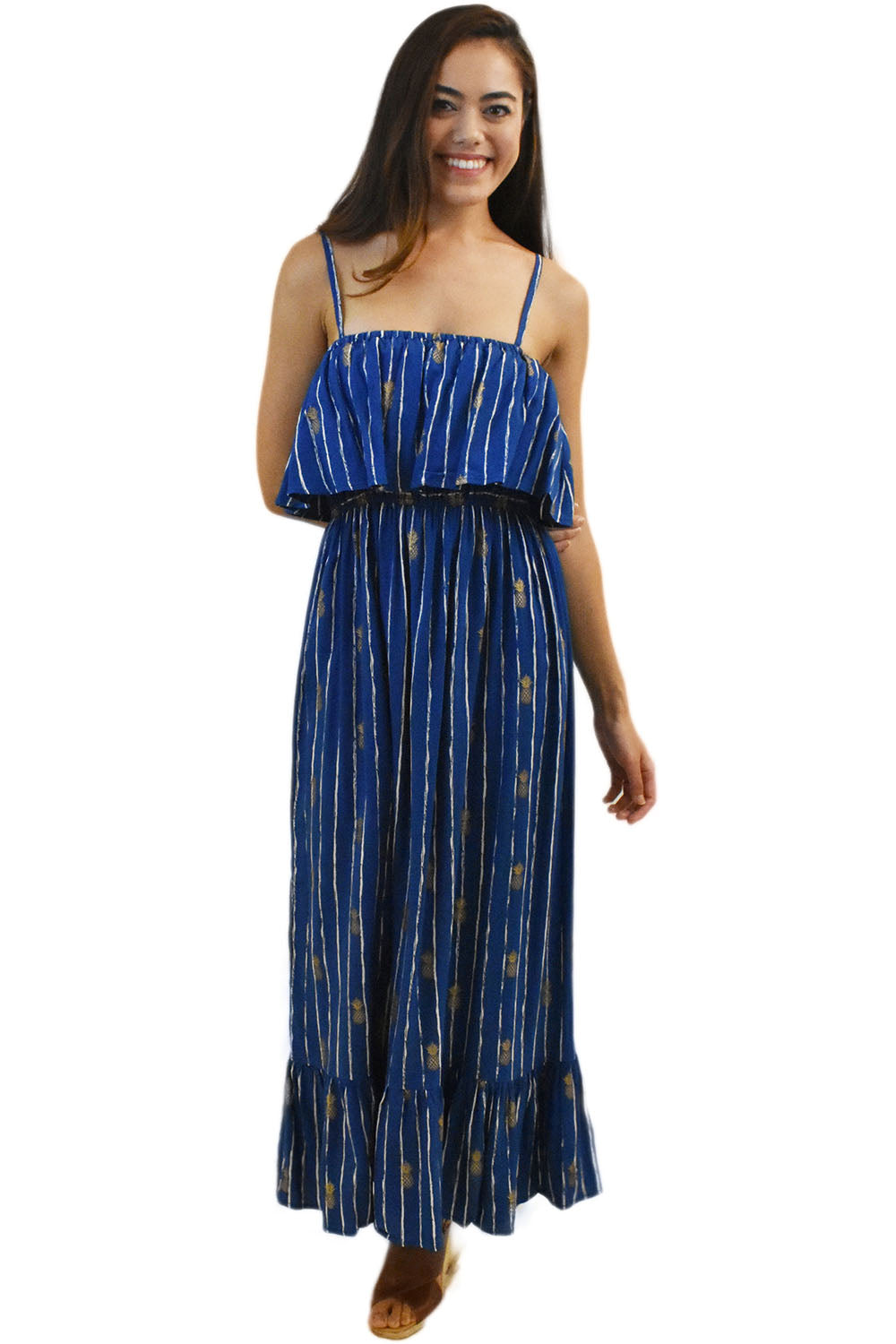 Moana Long Dress in Pineapple Print Navy