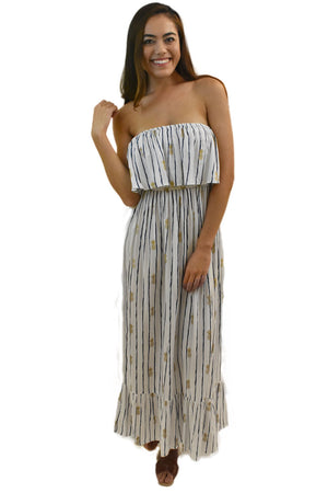 Moana Long Dress in Pineapple Print White/Navy