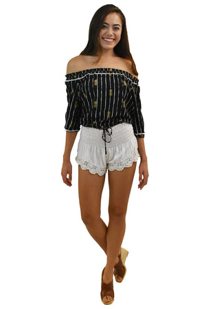 Peke Top in Pineapple Print Black