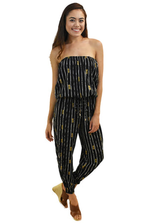 Pineapple Print Jumpsuit Black