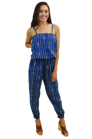 Pineapple Print Jumpsuit Navy