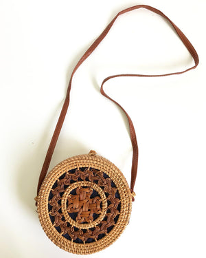 Round Horn 8-Inch Rattan Bag with Shoulder Strap