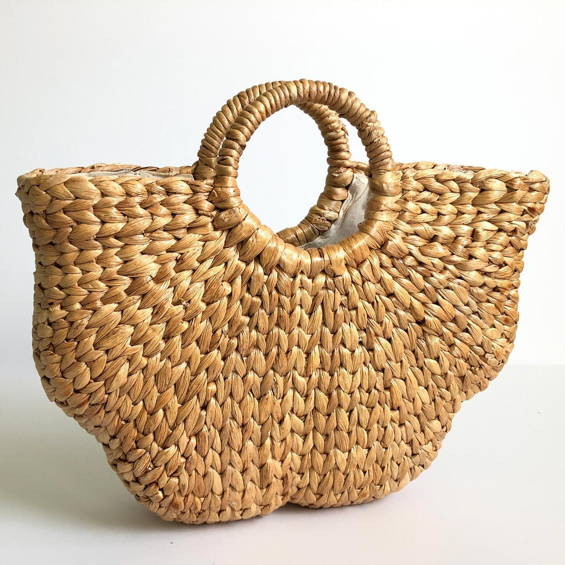 Woven Water Hyacinth Handbag With Handles