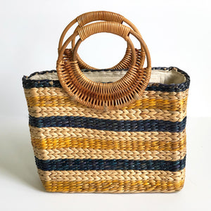 Striped Woven Water Hyacinth Handbag With Handles