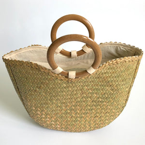 Small Seagrass Handbag with Wood Rings