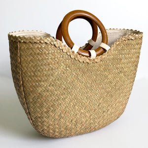 Big Seagrass Handbag with Wood Rings