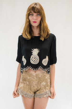 Kaina Pineapple Crop Top Black