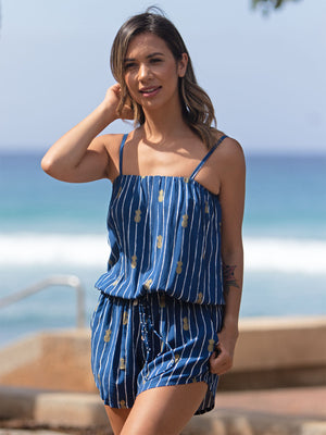 Luana Tube Romper in Pineapple Print Navy