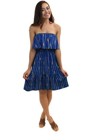 Moana Short Dress in Pineapple Print Navy
