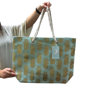 Large Pineapple Handbag with Braided Handles (Aqua)
