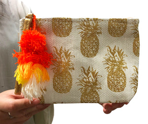 Small Pineapple Zipper Pouch (White)