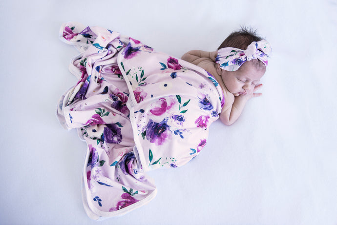 Floral Kiss baby wrap and topknot set