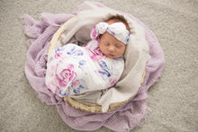 Lilac Skies baby wrap and topknot set