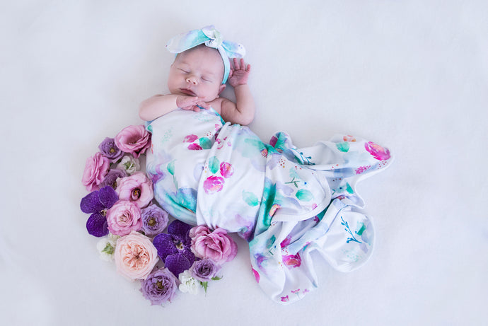 Sweet Petal baby Jersey wrap and Topknot set
