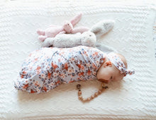Vintage Blossom baby wrap and topknot set